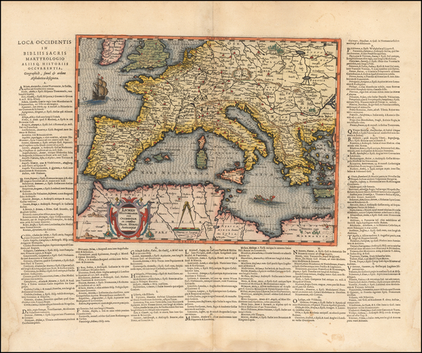 68-World and Mediterranean Map By Abraham Ortelius