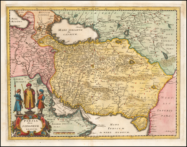 30-Middle East and Persia Map By Matthaus Merian