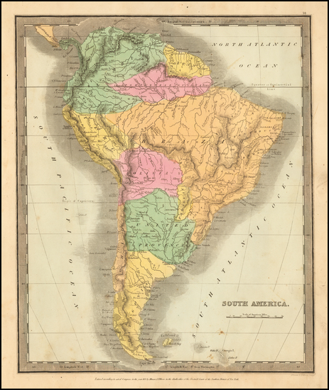 65-South America Map By David Hugh Burr