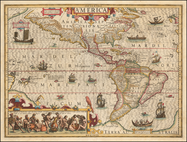 7-Western Hemisphere, North America, South America and America Map By Jodocus Hondius