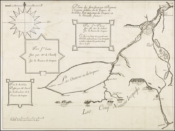 62-Vermont, New York State and Canada Map By François Joseph Le Mercier