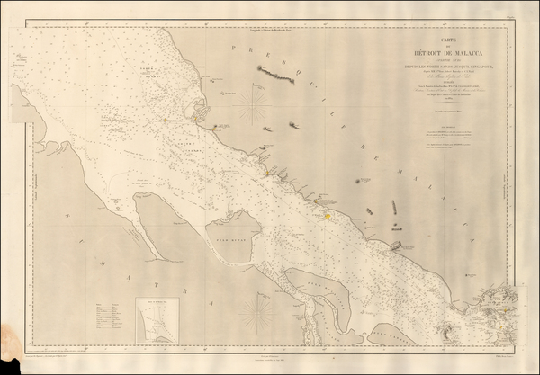 16-Singapore, Indonesia and Malaysia Map By Depot de la Marine