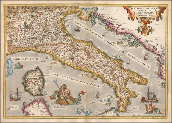 12-Italy Map By Abraham Ortelius