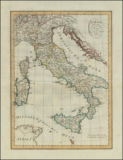 2-Italy Map By Weimar Geographische Institut
