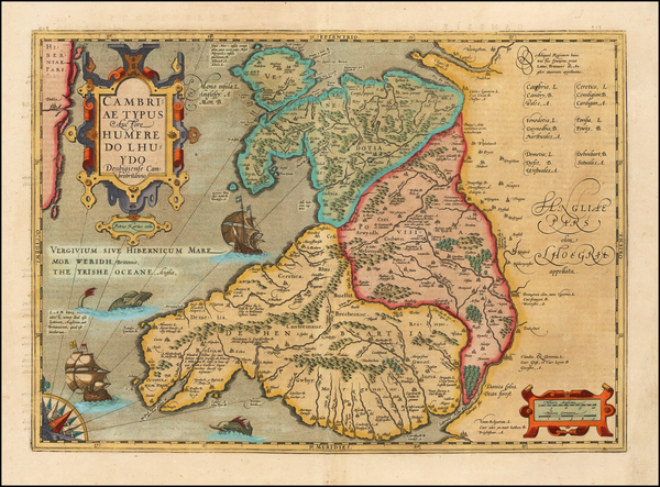 37-Wales Map By  Gerard Mercator