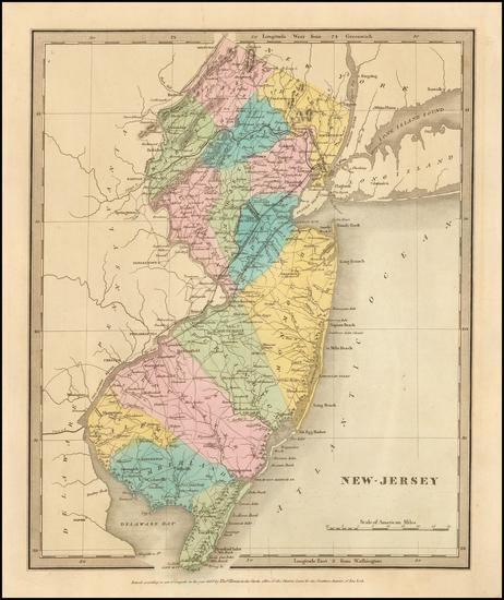 91-New Jersey Map By David Hugh Burr