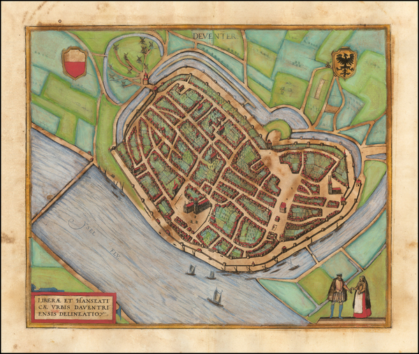 23-Netherlands Map By Georg Braun  &  Frans Hogenberg
