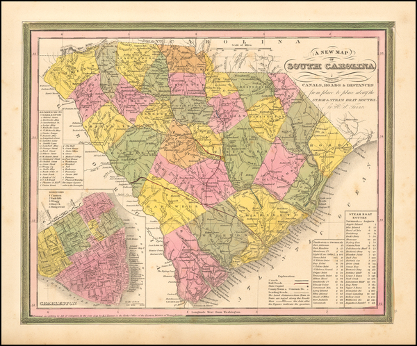 8-Southeast and South Carolina Map By Samuel Augustus Mitchell