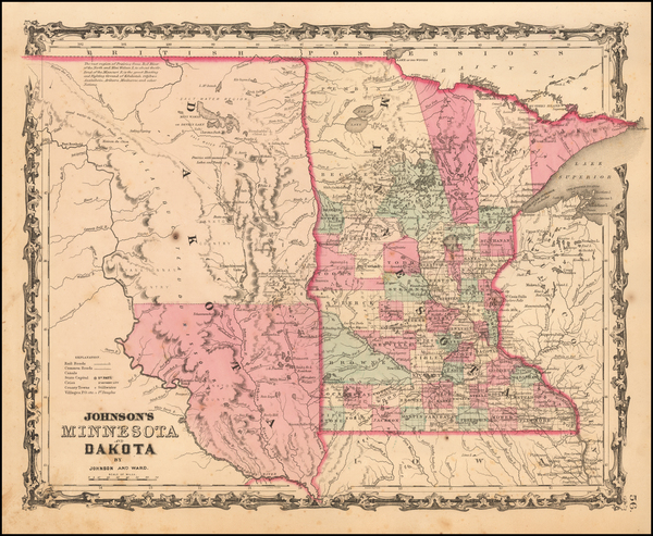 36-Minnesota, North Dakota and South Dakota Map By Benjamin P Ward  &  Alvin Jewett Johnson