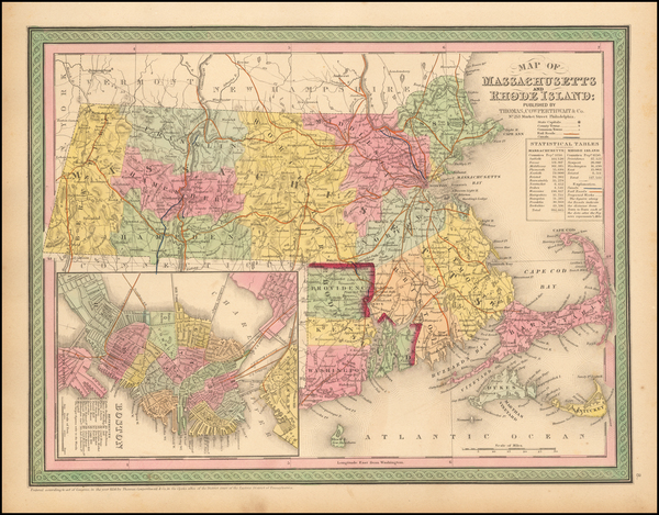23-Massachusetts and Boston Map By Thomas, Cowperthwait & Co.