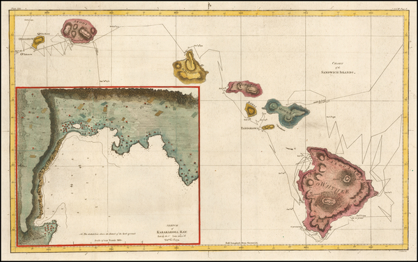 48-Hawaii and Hawaii Map By James Cook
