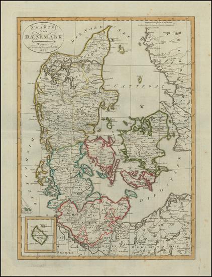 18-Denmark Map By Weimar Geographische Institut