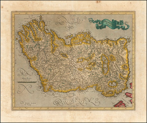 2-Ireland Map By  Gerard Mercator