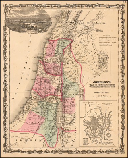 Asia and Holy Land Map By Benjamin P Ward  &  Alvin Jewett Johnson