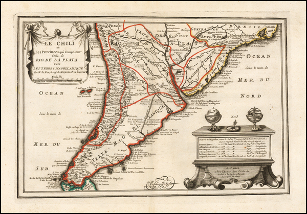 87-Argentina and Chile Map By Nicolas de Fer