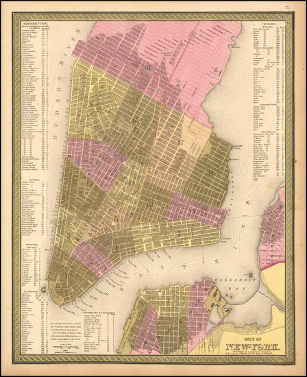 11-New York City Map By Samuel Augustus Mitchell