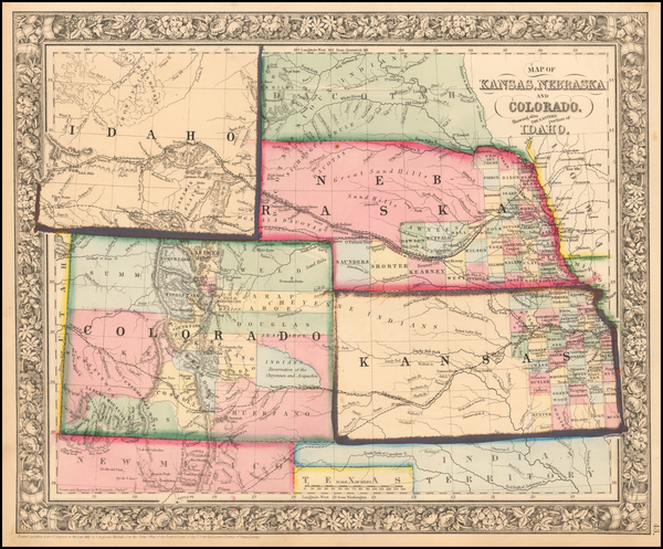 49-Kansas, Nebraska, Colorado, Colorado, Idaho and Wyoming Map By Samuel Augustus Mitchell Jr.