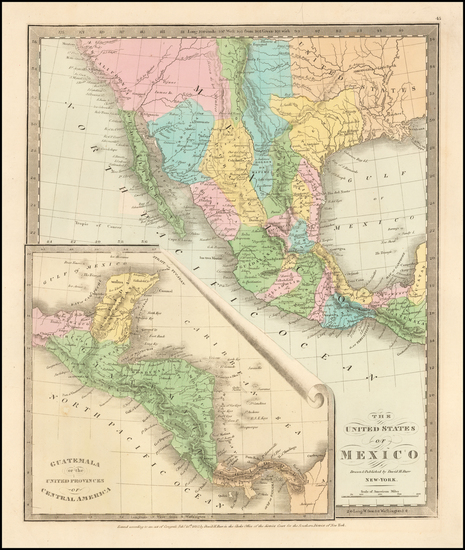 61-Texas, Southwest, Mexico and California Map By David Hugh Burr