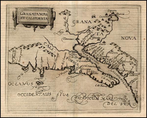 70-Southwest, Mexico, Baja California and California Map By Johannes Matalius Metellus