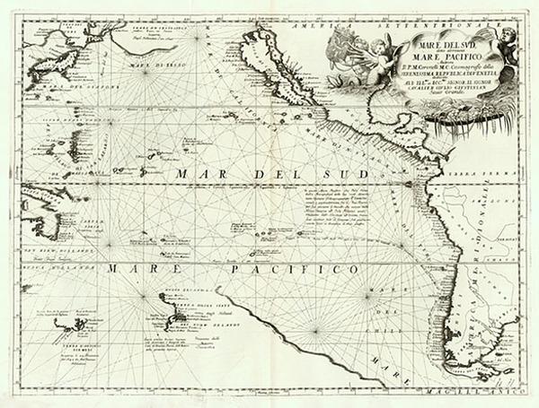 58-World, Polar Maps, South America, California and America Map By Vincenzo Maria Coronelli