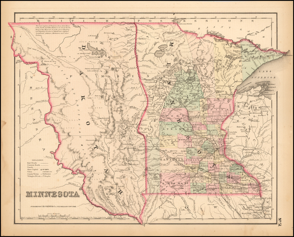 71-Midwest, Minnesota, Plains, North Dakota and South Dakota Map By Joseph Hutchins Colton