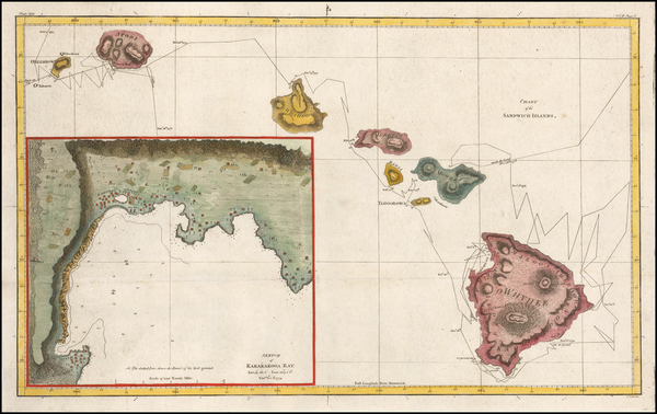 72-Hawaii and Hawaii Map By James Cook