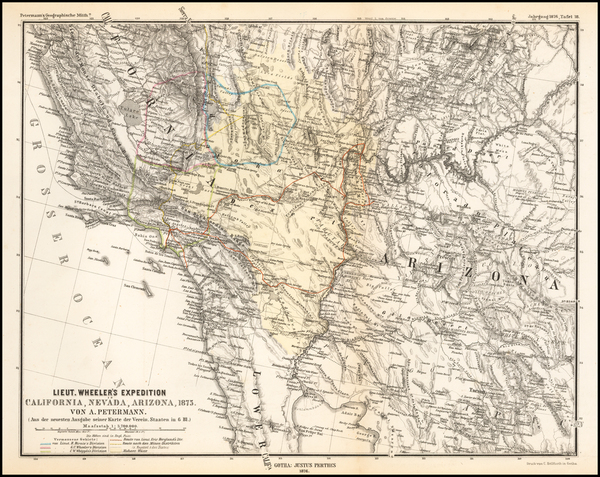 28-Arizona, Utah, Nevada, Utah and California Map By Augustus Herman Petermann