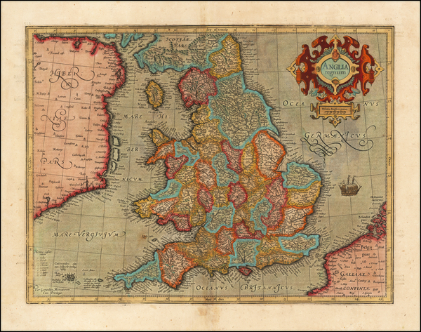 30-England Map By  Gerard Mercator