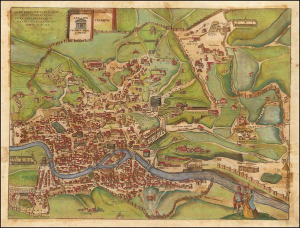 24-Rome Map By Georg Braun  &  Frans Hogenberg