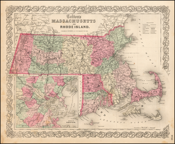 3-New England, Massachusetts and Rhode Island Map By Joseph Hutchins Colton