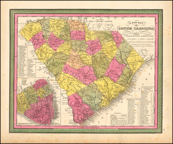 84-Southeast and South Carolina Map By Samuel Augustus Mitchell