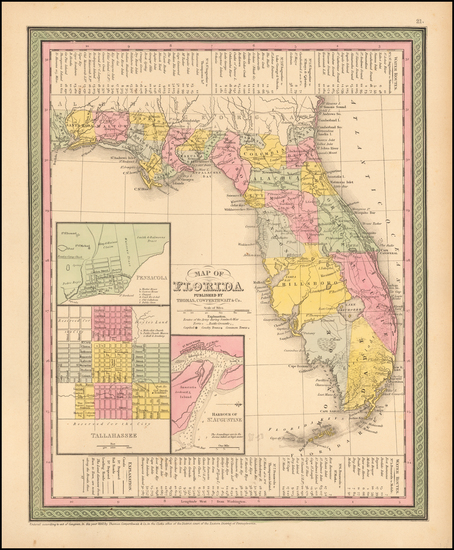75-Florida Map By Thomas, Cowperthwait & Co.