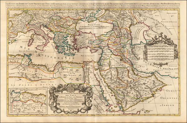 Turkey, Mediterranean, Arabian Peninsula and Turkey & Asia Minor Map By Alexis-Hubert Jaillot