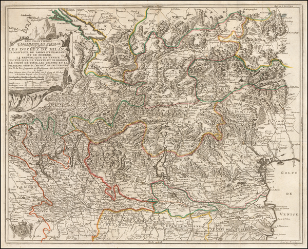 89-Switzerland and Northern Italy Map By Nicolas de Fer