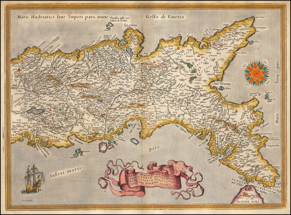 45-Southern Italy Map By Abraham Ortelius