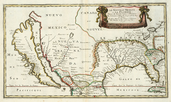 93-United States, Southeast, Southwest and California Map By Nicolas Sanson
