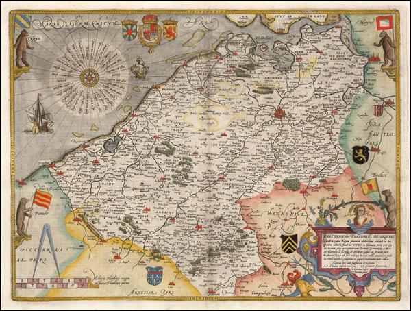 93-Belgium Map By Cornelis de Jode