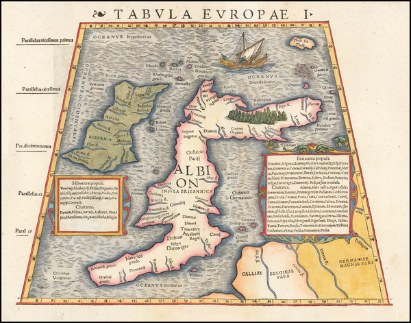 64-British Isles Map By Sebastian Munster