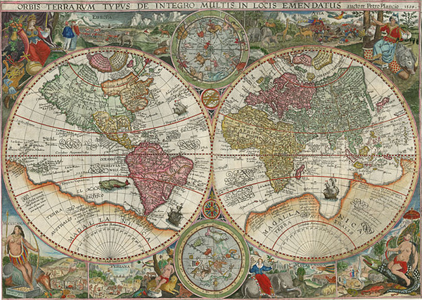 65-World, World, Curiosities and Celestial Maps Map By Petrus Plancius
