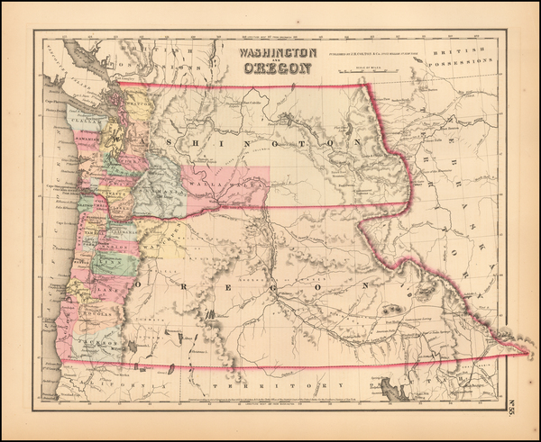 26-Oregon and Washington Map By Joseph Hutchins Colton