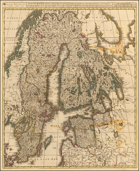 36-Baltic Countries, Scandinavia, Sweden and Finland Map By Gerard & Leonard Valk