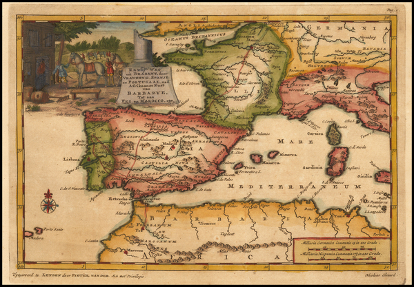 Spain and North Africa Map By Pieter van der Aa
