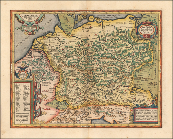 60-France, Germany, Poland and Baltic Countries Map By Abraham Ortelius