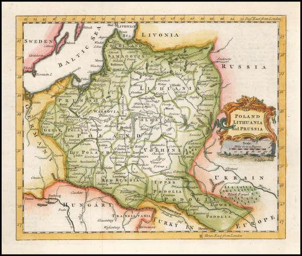Poland and Baltic Countries Map By Thomas Jefferys