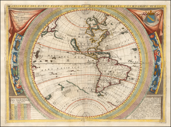 85-Western Hemisphere, North America, South America, Pacific and America Map By Vincenzo Maria Cor