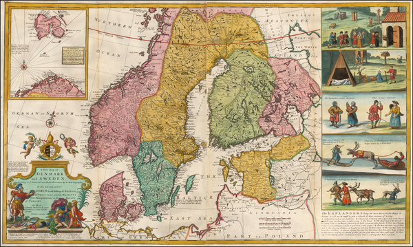80-Baltic Countries, Scandinavia and Denmark Map By Herman Moll