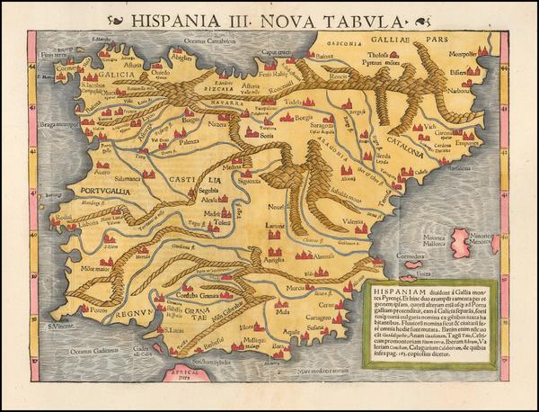 Spain Map By Sebastian Münster