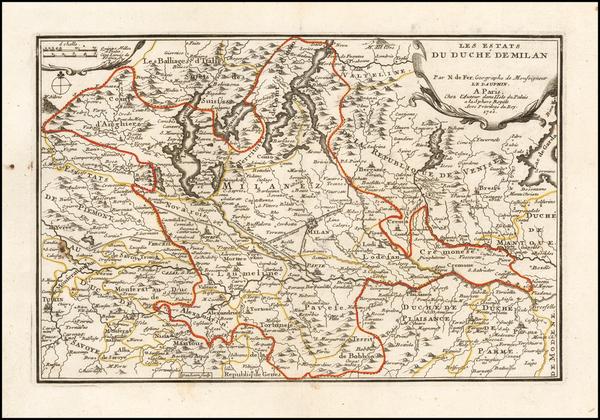 46-Northern Italy Map By Nicolas de Fer