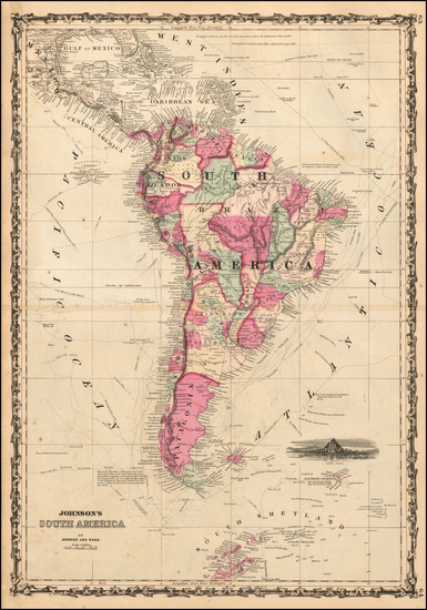 South America Map By Alvin Jewett Johnson  &  Browning