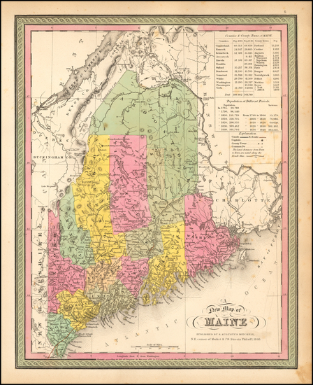 30-New England and Maine Map By Samuel Augustus Mitchell